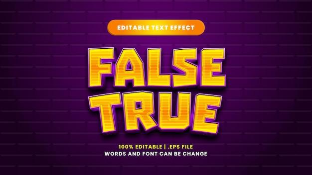 Efeito de texto falso verdadeiro editável em estilo 3d moderno