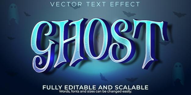 Efeito de texto fantasma, halloween editável e estilo de texto espiritual