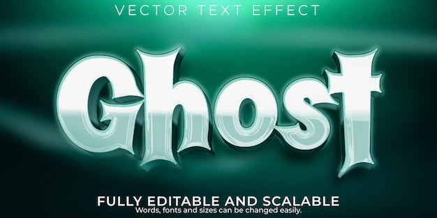 Efeito de texto fantasma, terror editável e estilo de texto de desenho animado