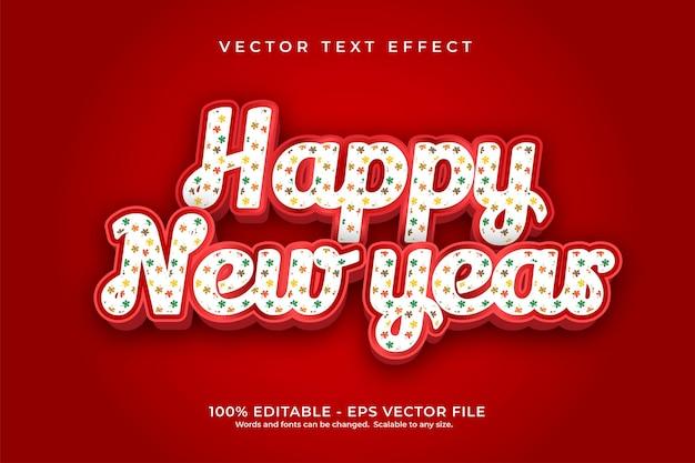 Efeito de texto feliz ano novo com padrão