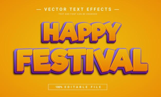 Efeito de texto feliz festival