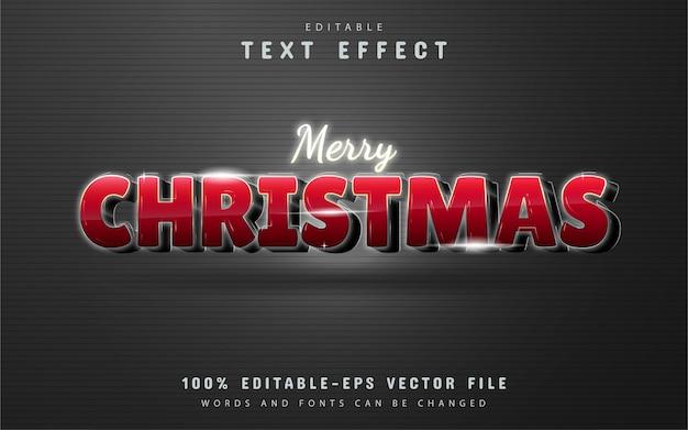 Efeito de texto feliz natal com gradiente de vermelho