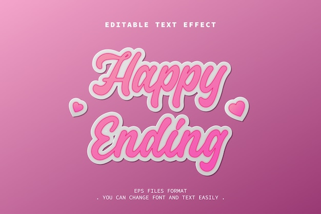 Efeito de texto final feliz, texto editável