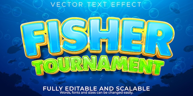 Efeito de texto fisher, estilo de texto editável do mar e oceano