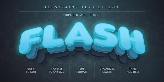 Efeito de texto flash 3d, estilo de fonte