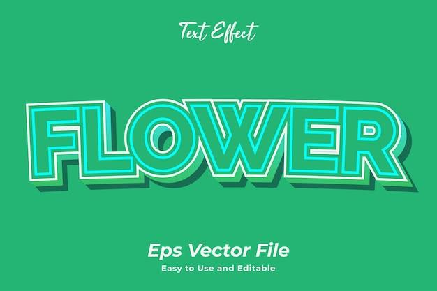 Efeito de texto flor editável e fácil de usar premium vector