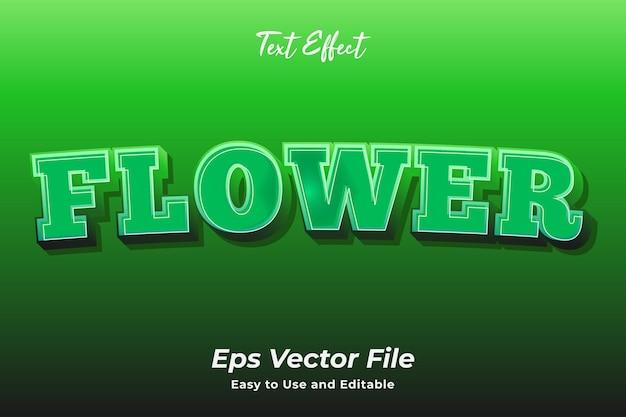 Efeito de texto flor editável e fácil de usar vetor premium