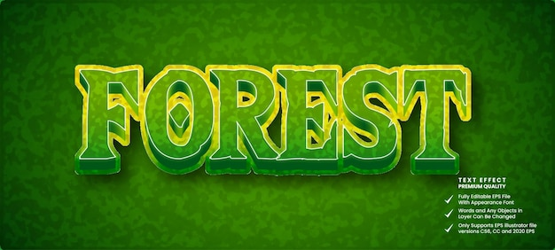 Efeito de texto floresta 3d