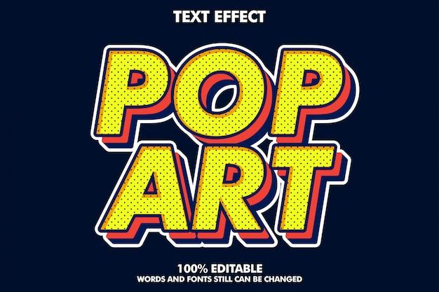 Efeito de texto forte pop arte retrô em negrito para estilo antigo