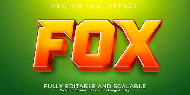 Efeito de texto fox, animal editável e estilo de texto de jogador