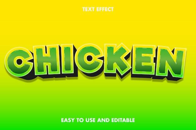 Efeito de texto - frango. editável e fácil de usar.