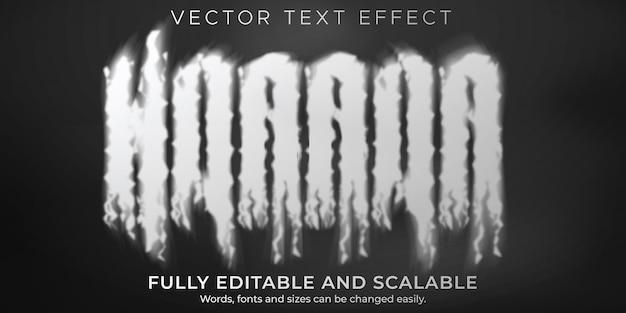 Efeito de texto fumê, terror editável e estilo de texto nebuloso