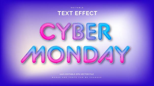 Efeito de texto futurista de cyber monday.