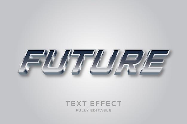 Efeito de texto futurista de metal prateado