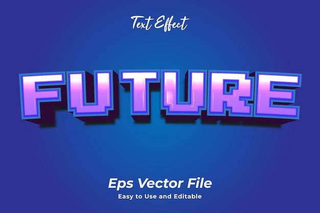 Efeito de texto futuro editável e fácil de usar vetor premium