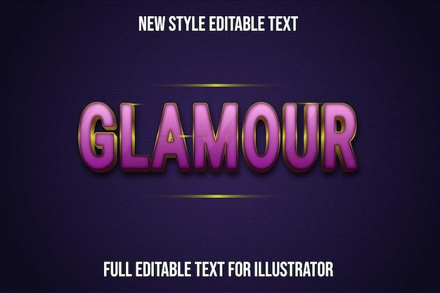 Efeito de texto glamour cor rosa e gradiente dourado