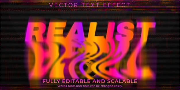 Efeito de texto glitch derretido, estilo de texto abstrato editável e realista