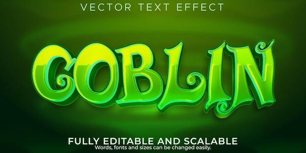 Efeito de texto goblin, elfo editável e estilo de texto orc