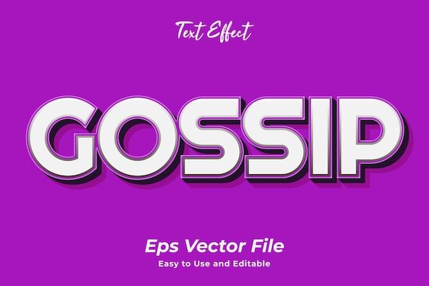 Efeito de texto gossip editável e fácil de usar vetor premium