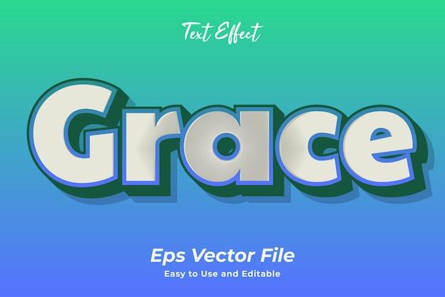 Efeito de texto graça editável e fácil de usar vetor premium