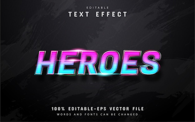 Efeito de texto gradiente heroes