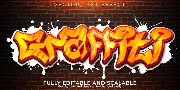 Efeito de texto graffiti, spray editável e estilo de texto de rua