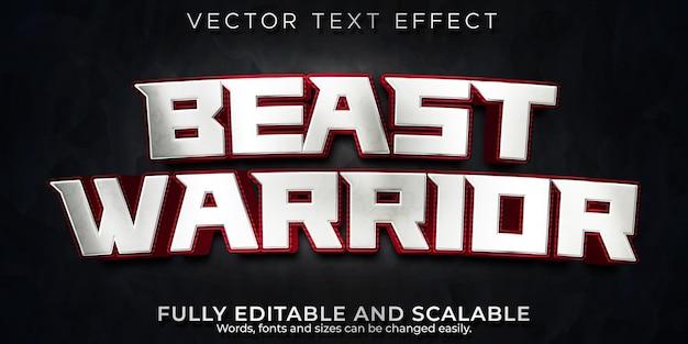 Efeito de texto guerreiro besta, estilo de texto editável metálico e de batalha