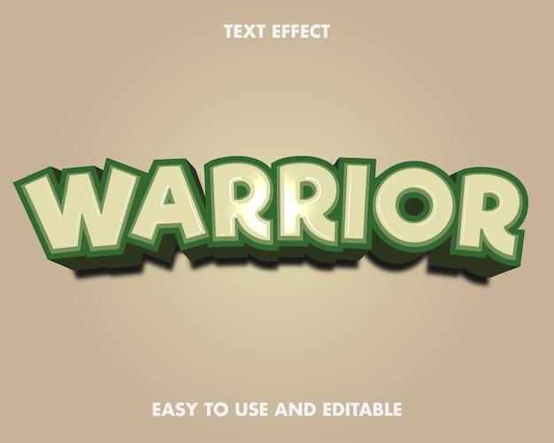 Efeito de texto - guerreiro. estilo de fonte editável.