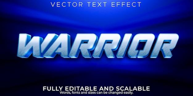 Efeito de texto guerreiro, estilo de texto editável metálico e de aço