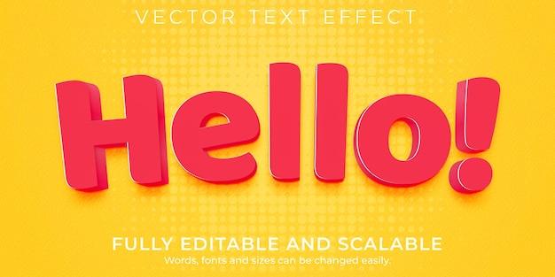 Efeito de texto hello de desenho animado, estilo de texto engraçado e cômico editável