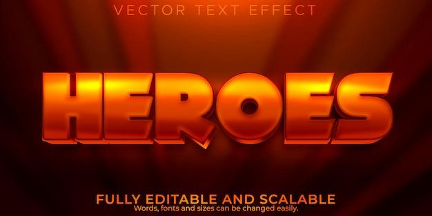 Efeito de texto heroes, desenho editável e estilo de texto em quadrinhos