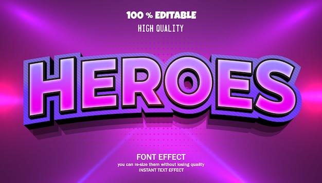 Efeito de texto heroes, fonte editável