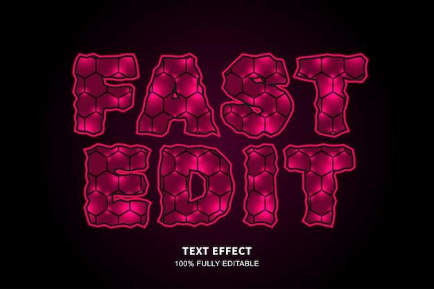 Efeito de texto hexágono brilho, texto editável