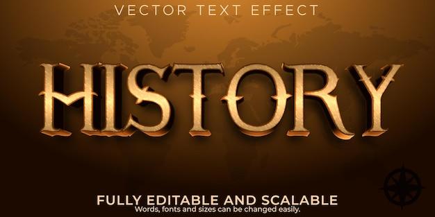 Efeito de texto histórico, estilo de texto antigo e histórico editável
