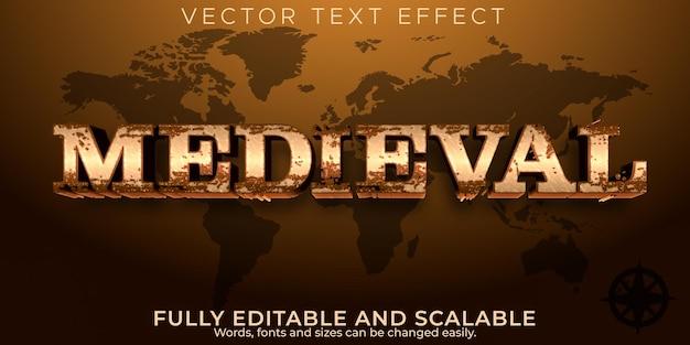 Efeito de texto histórico medieval, estilo de texto retro e metálico editável