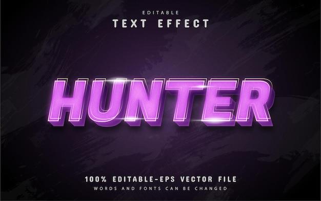 Efeito de texto hunter com gradiente roxo