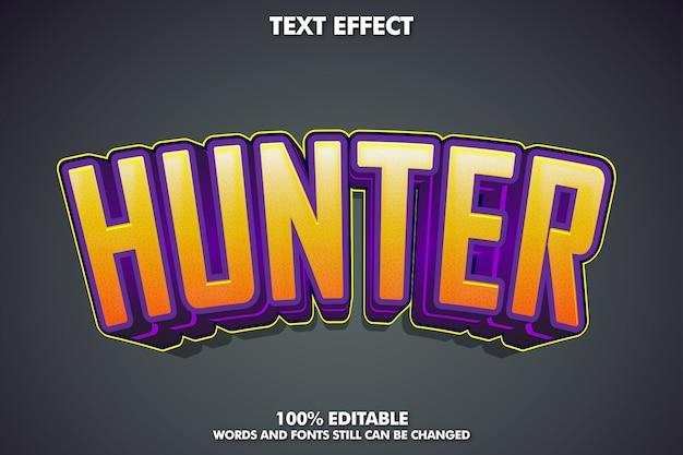 Efeito de texto hunter, estilo de texto moderno para adesivo