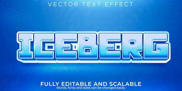 Efeito de texto iceberg, estilo de texto editável de frio e geada
