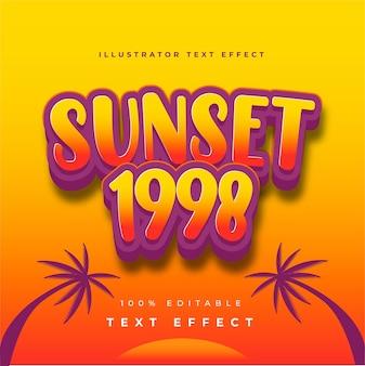 Efeito de texto ilustrador sunset 1998