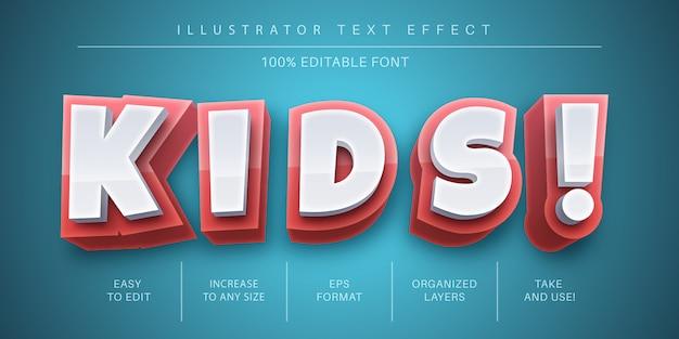 Efeito de texto infantil 3d, estilo de fonte