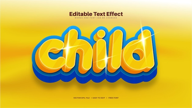 Efeito de texto infantil amarelo