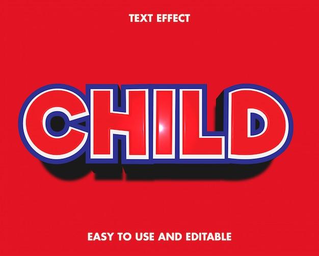 Efeito de texto infantil. fácil de usar e editável. prêmio