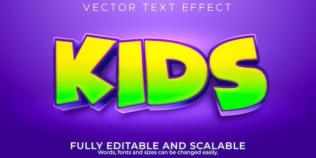 Efeito de texto infantil infantil, escola editável e estilo de desenho animado