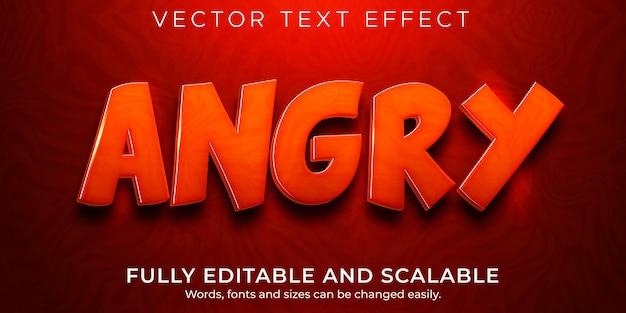 Efeito de texto irritado, estilo de texto editável em vermelho e fogo