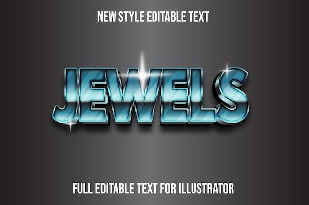 Efeito de texto joias em 3d de cor verde e gradiente de prata