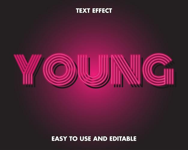 Efeito de texto jovem. fácil de usar e editável. prêmio
