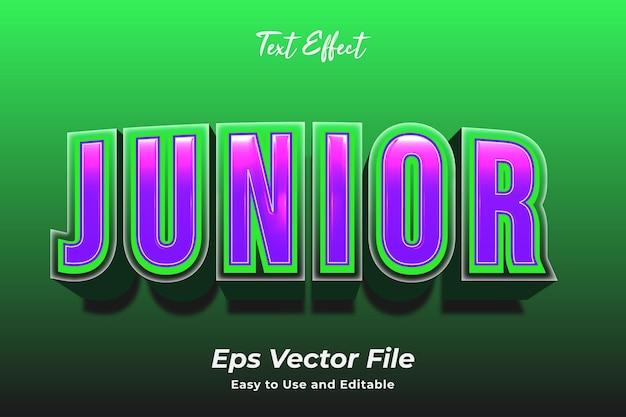 Efeito de texto junior editável e fácil de usar premium vector