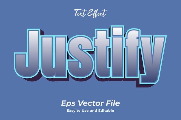 Efeito de texto justifica vetor premium editável e fácil de usar