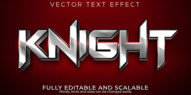 Efeito de texto knight, estilo de texto editável metálico e brilhante