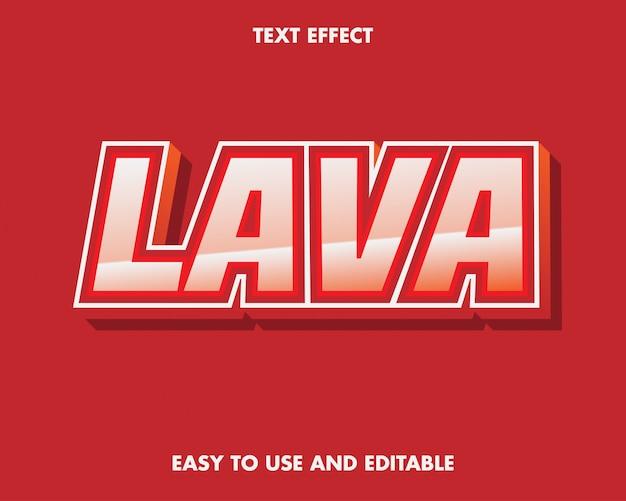 Efeito de texto lava. fácil de usar e editável. ilustração vetorial. vetor premium